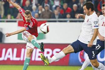 Video luot ve play-off Euro 2016: <b style='background-color:Yellow'>Hungary</b> 2-1 Nauy