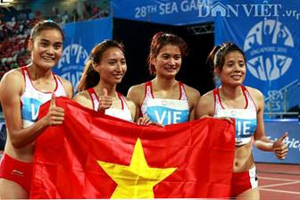 Dien kinh VN <b style='background-color:Yellow'>HCV SEA Games</b> 28 chay tiep suc 4x400m nu