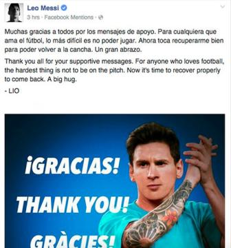 Leo Messi len <b style='background-color:Yellow'>facebook</b> cam on fan ham mo