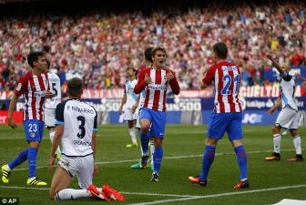 Antoine <b style='background-color:Yellow'>Griezmann</b> giup Atletico ap sat Barca va Real Madrid