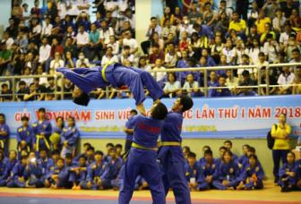Giai <b style='background-color:Yellow'>Vovinam</b> sinh vien toan quoc lan I-2018: San sang cho giai Vovinam sinh vien Dong Nam A