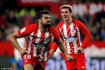 <b style='background-color:Yellow'>Sevilla</b> 2-5 Atletico Madrid: 'Song sat' Griezmann - Costa gui thu chien toi Barca