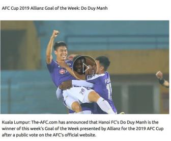 <b style='background-color:Yellow'>Duy Manh</b> doat danh hieu ban thang dep nhat vong 1 AFC Cup 2019